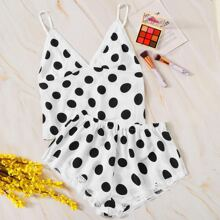 Polka Dot Lace Trim Cami With Shorts