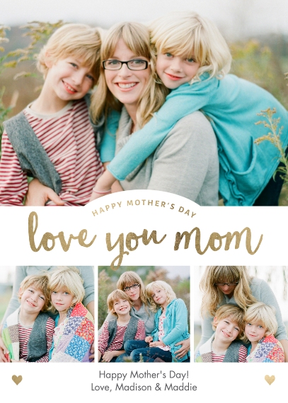 Mother's Day Cards 5x7 Folded Cards, Premium Cardstock 120lb, Card & Stationery -Mom's Day Mom Love