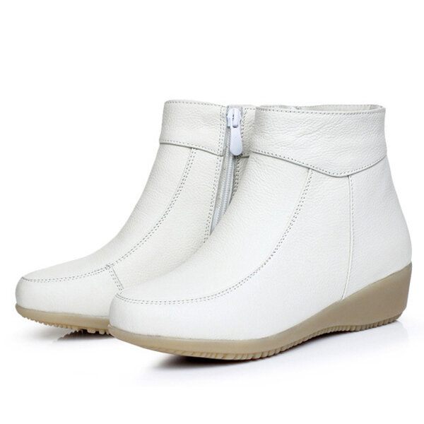 White Soft Sole Fur Lining Casual Boots