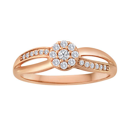 1/5 CT. T.W. Diamond 10K Rose Gold Bridal Ring, 5 , Pink
