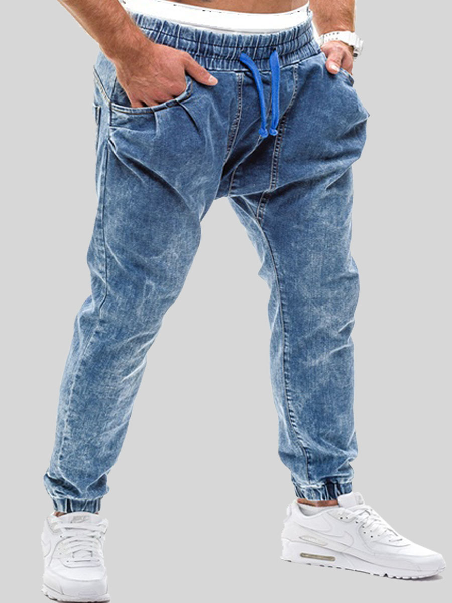 LW lovely Street Drawstring Deep Blue Men Jeans