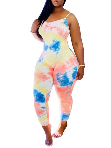 Milanoo Tie Dye Jumpsuit Sleeveless Skinny Summer Jumpsuit