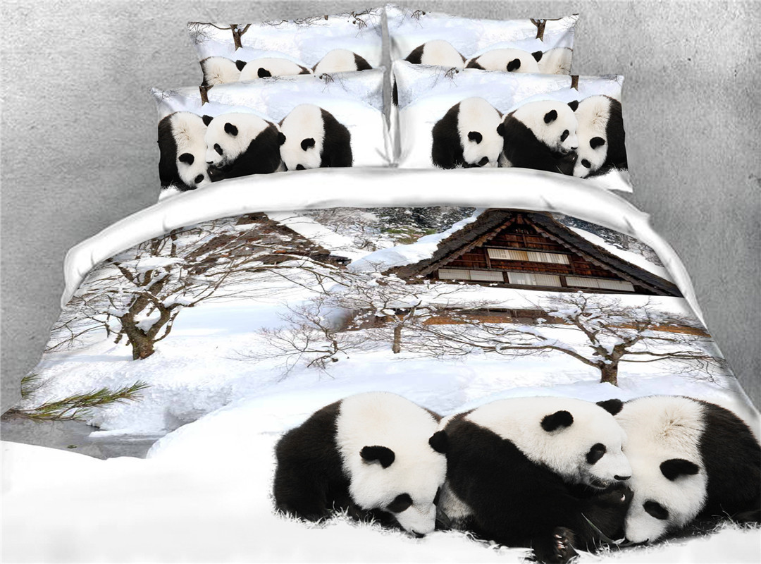 Panda Five-Piece Set Comforter Set Hand Wash Polyester Bedding Sets Colorfast Wear-resistant