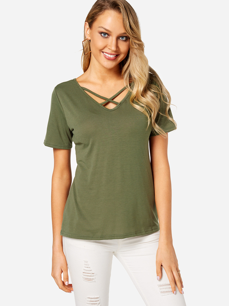 Yoins Army Green Cross Straps Front & Back Deep V-neck T-shirts