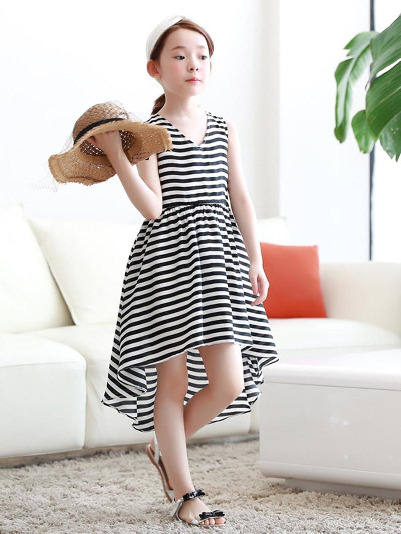 Ericdress Stripe V-Neck Asymmetrical Mid-Calf Dress