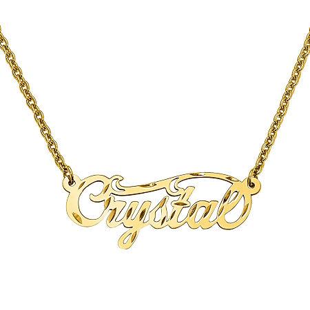Personalized 14x37mm Diamond Cut Swirled Name Necklace, One Size , Yellow