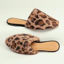 Leopard Pointy Toe Faux Fur Flat Slide Mules
