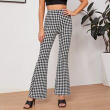 High Waist Gingham Flare Leg Pants