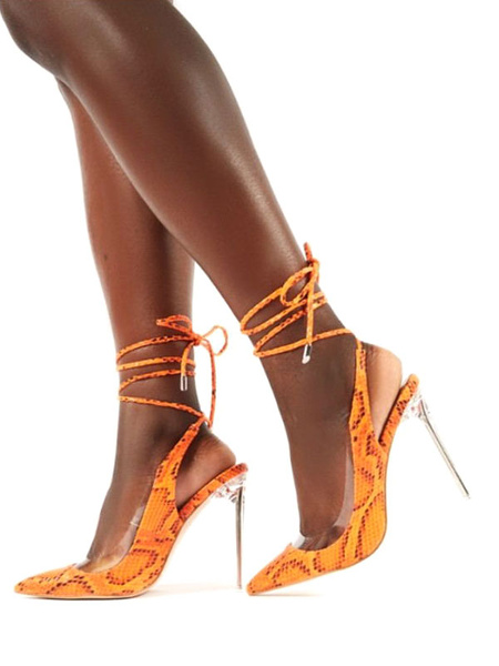 Milanoo Women Slingback Pumps Orange SnakeSkin Print Ankle Straps High Heel Pumps