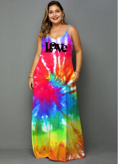 Plus Size Tie Dye Letter Print Dress - 2X