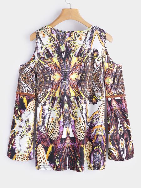 Yoins Brown Printed Cold Shoulder Long Sleeves T-shirts
