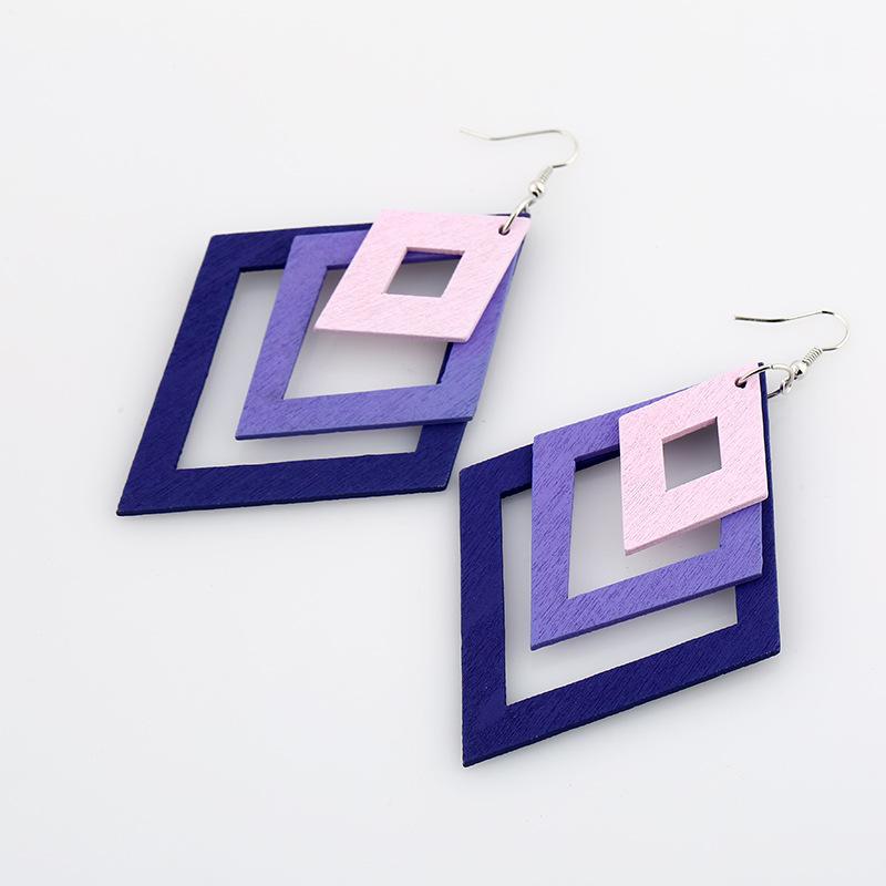 Diamond-shaped Wooden Popular Hollow Multi-layer Earrings