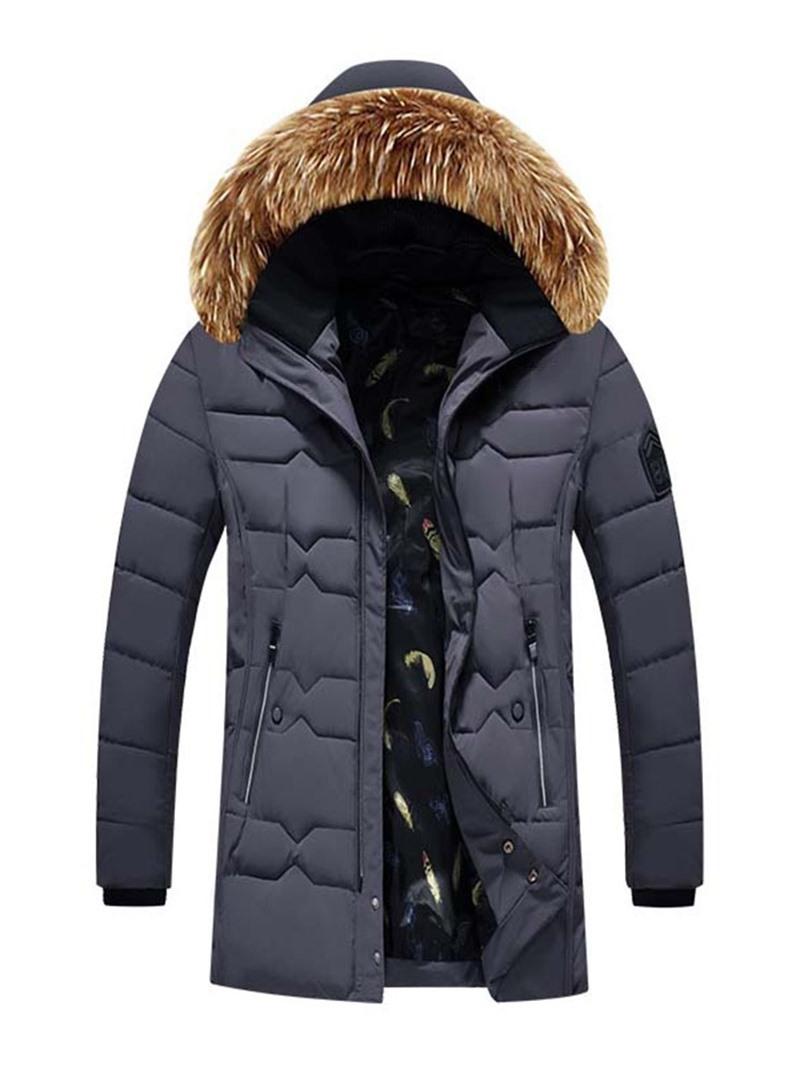 Ericdress Hooded Patchwork Color Block Zipper Casual Men's Down Jacket