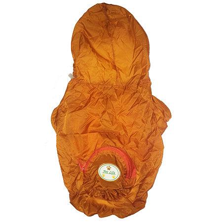 The Pet Life The Ultimate Waterproof Thunder-Paw Adjustable Zippered Folding Travel Dog Raincoat, One Size , Orange