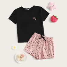 Girls Heart Print Top & Polka Dot Shorts PJ Set