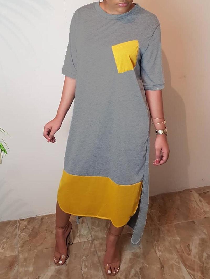 Ericdress Asymmetrical Casual Pocket Round Neck Half Sleeve Dress