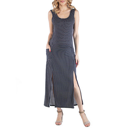 24/7 Comfort Apparel Polka Dot Sleeveless Slip Dress, 2x , Black