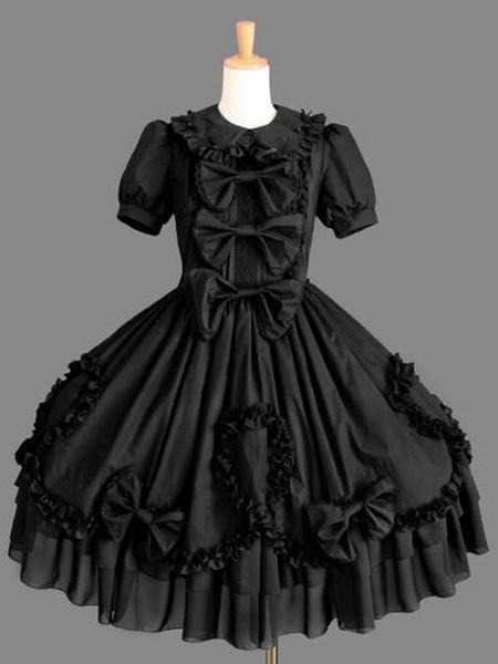 Milanoo Gothic Loltia OP Dress Bow Ruffle Black Short Sleeve Lolita One Piece Dress