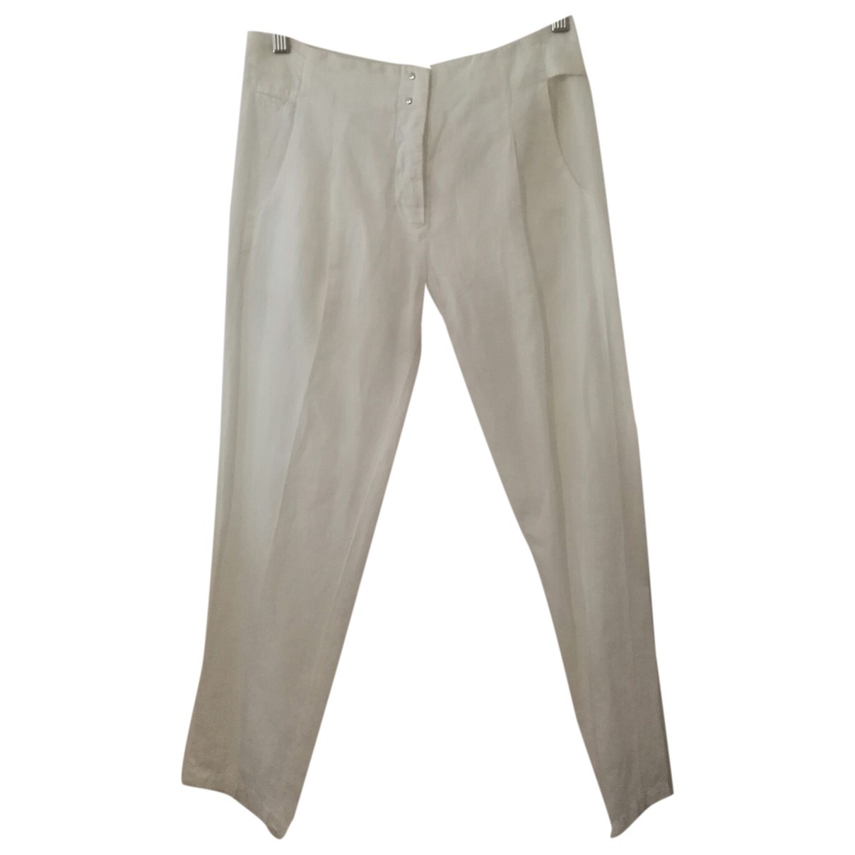 Mm6 \N White Cotton Trousers for Women 38 IT