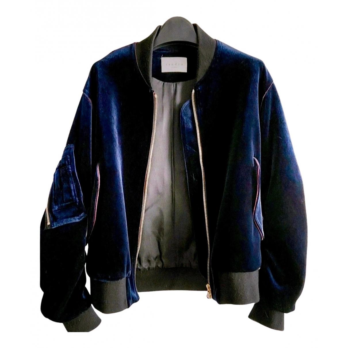 Sandro \N Navy Velvet Leather jacket for Women 36 FR