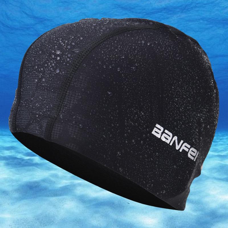 Mens Waterproof Non-slip Beanie Cap Flexible Earmuffs Wrap Long Hair Swimming Cap