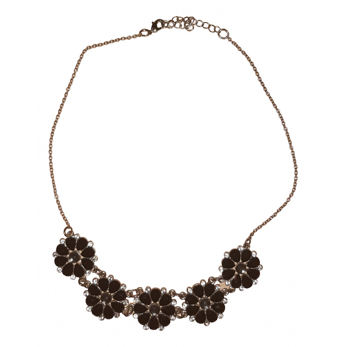 Non Signé / Unsigned Motifs Floraux Black Metal necklace for Women \N