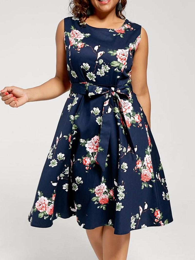 Ericdress Floral Print A-Line Round Neck Sleeveless Mid-Calf Dress