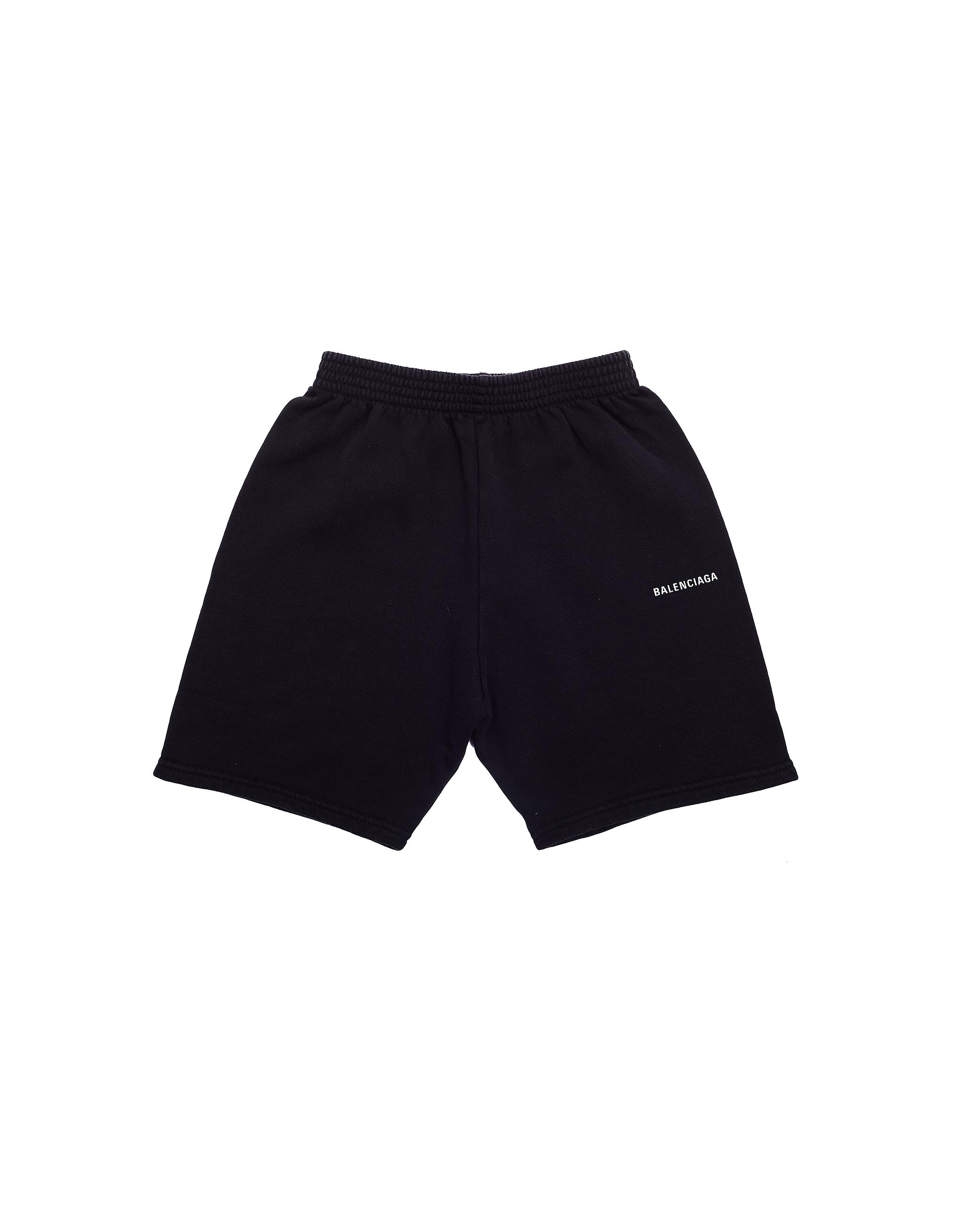 Balenciaga Kids Black Logo Cotton Shorts