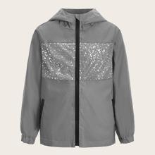 Boys Glitter Panel Reflective Windbreaker Jacket