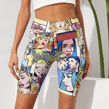 Pop Art Print Biker Shorts