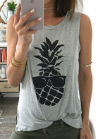 Pineapple Printed Fashion Tank Without Necklace