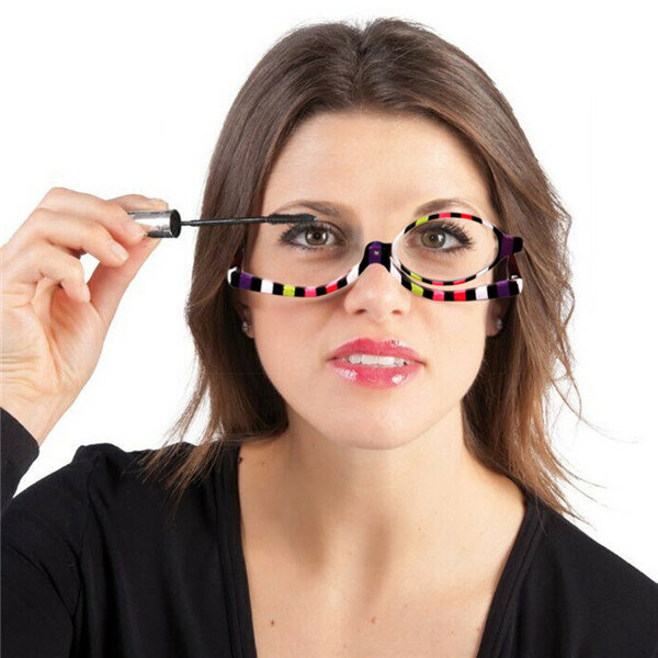 Women Rotatable Magnify Eye Makeup Cosmetic Glasses Reading Glasses Flipup Glasses