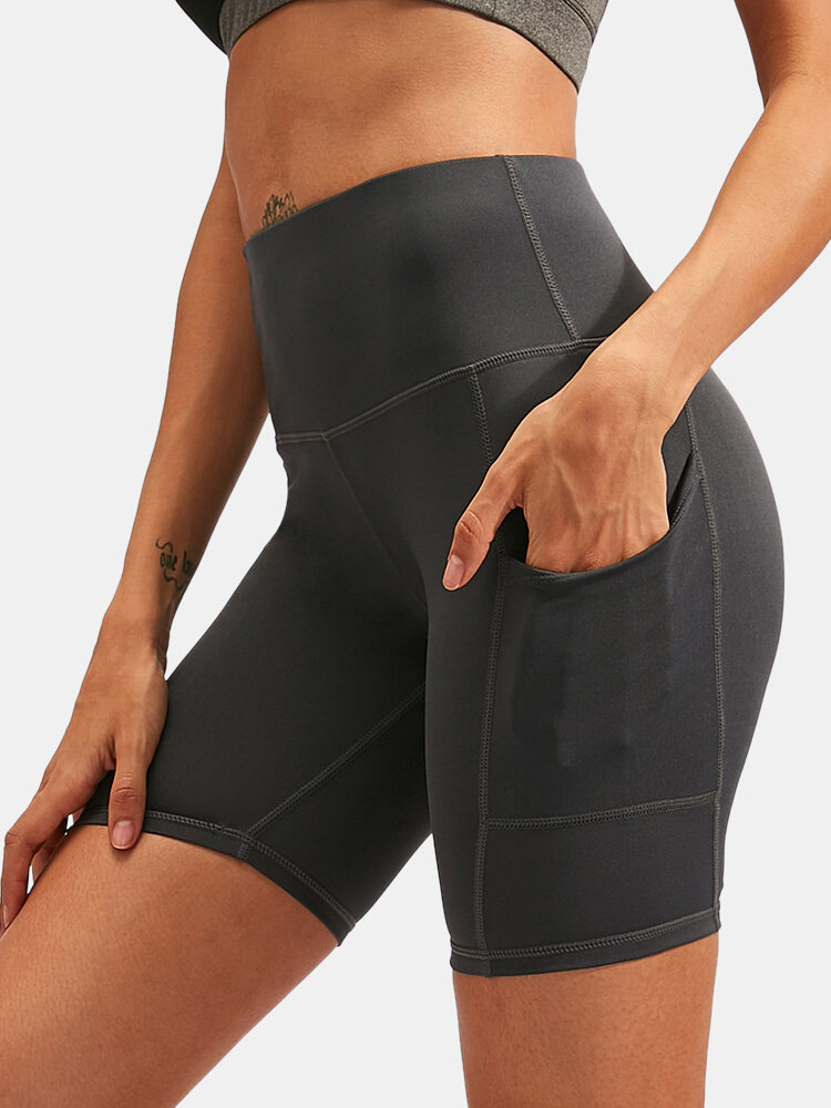 Women Quick Dry Breathable Elastic Skinny Fit Yoga Sports High Waist Shorts With Side Pocket