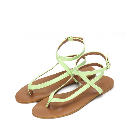 Yoins Light Green Leather Look Cross Ankle Strap Toe Post Flat Sandals