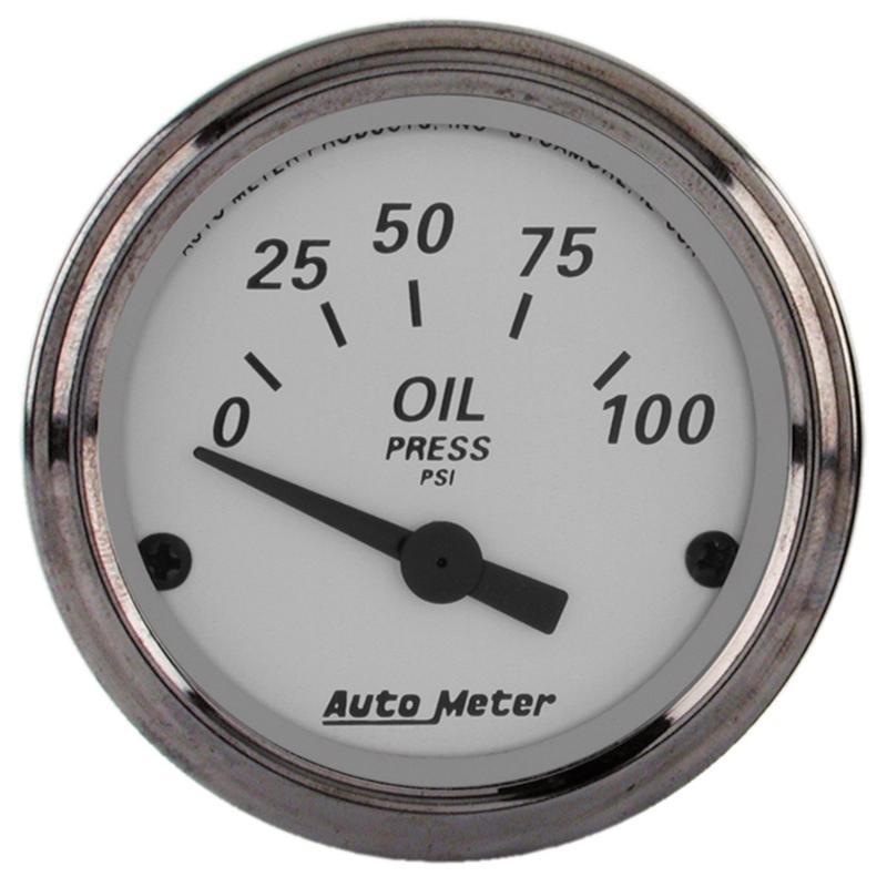 AutoMeter GAUGE; OIL PRESS; 2 1/16in.; 100PSI; ELEC; AMERICAN PLATINUM