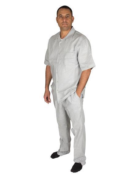 Mens 2 Piece 1 Linen Short Sleeve Walking Set Pleated Pants Grey Shirt