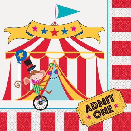 Circus Carnival Luncheon Napkins, 16ct Pour la fête d'anniversaire
