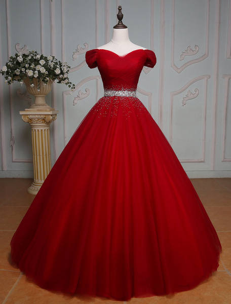 Milanoo Burgundy Quinceanera Dresses Princess Tulle Beading Off The Shoulder Pleated Floor Length Women's Pageant Dress