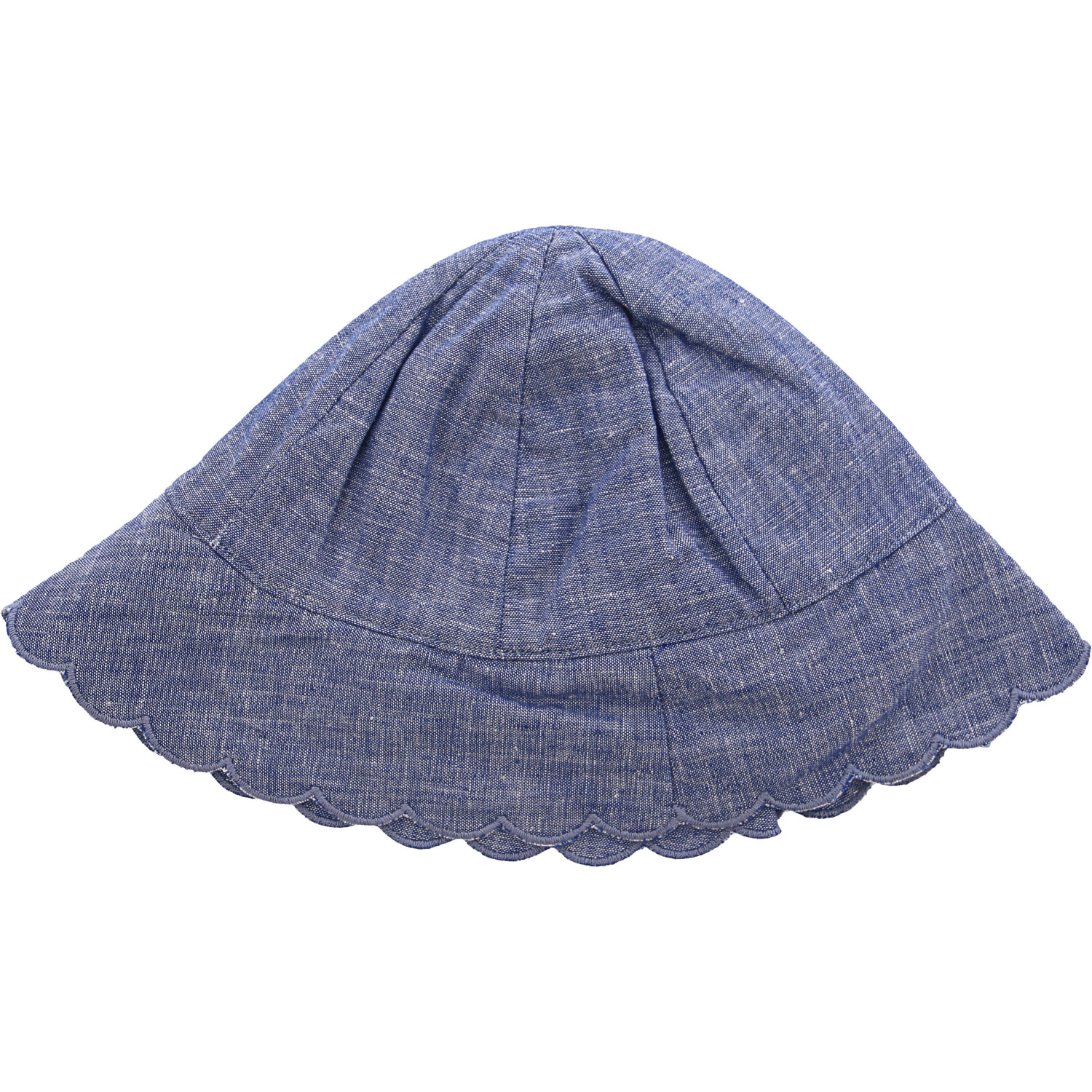 Janie And Jack Denim Blue Scalloped Chambray Sun Hat Hats & Cap - 18-24 Months