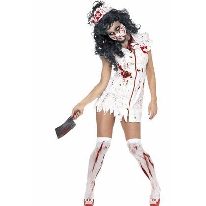 Halloween Costume Bloody Zombie Nurse Set for Adult 4Pcs