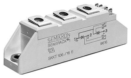 Semikron , SKKH 72/16 E, Diode/Thyristor Module SCR, SCR, 70A 1600V, 5-Pin A 43a