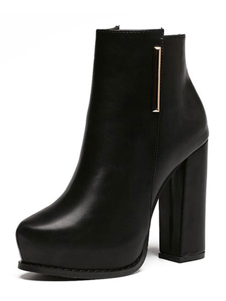 Milanoo High Heel Boots Women Platform Almond Chunky Heel Ankle Boots Black Winter Shoes