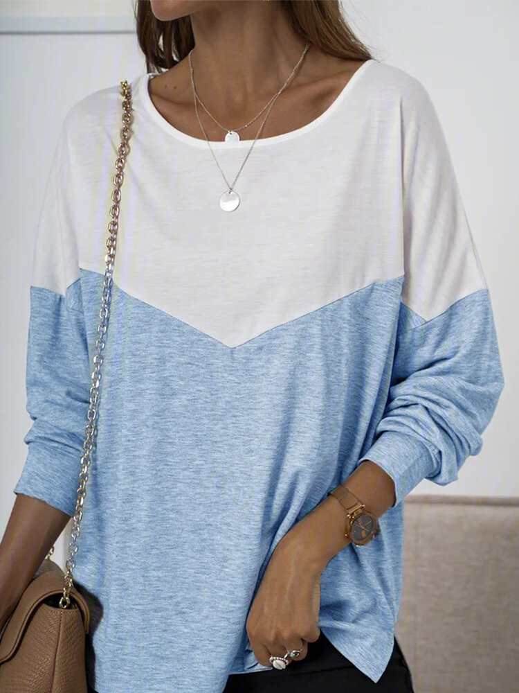 Casual Patchwork Long Sleeve Plus Size T-shirt