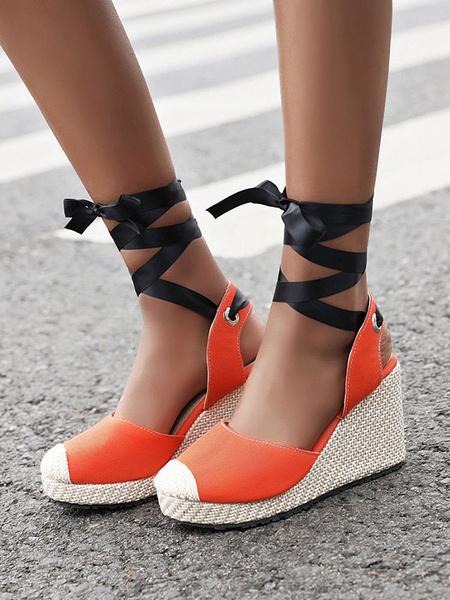 Milanoo Womens Espadrilles Suede Round Toe Yellow Lace Up Starp Platform Heels Sandals Shoes