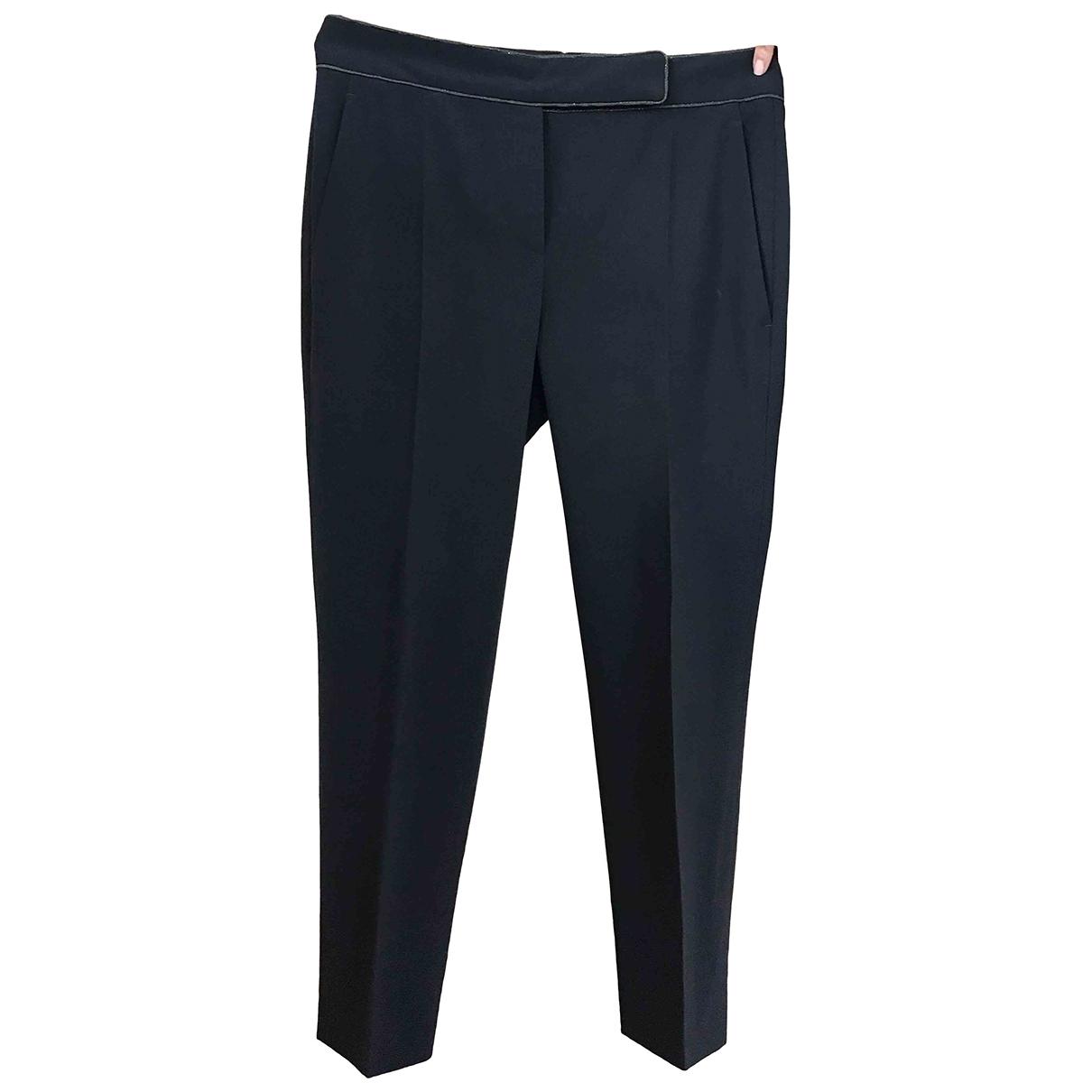 Brunello Cucinelli \N Navy Wool Trousers for Women 44 IT