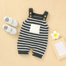 Baby Boy Pocket Front Striped Sweater Romper
