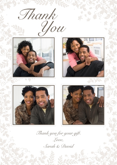 Thank You Cards 5x7 Cards, Premium Cardstock 120lb with Elegant Corners, Card & Stationery -White Floral Thank You
