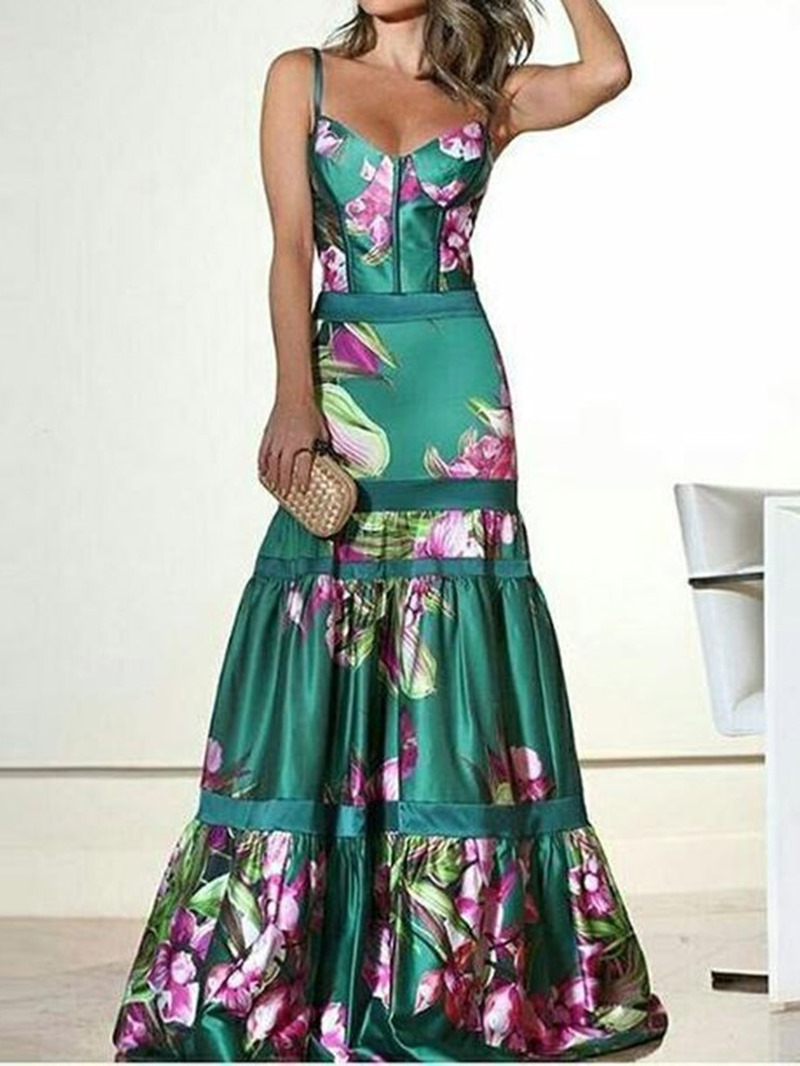 Ericdress Print Sleeveless Ankle-Length High Waist Dress