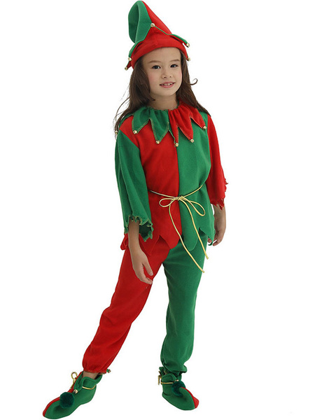 Milanoo Kids Christmas Elf Costume Outfit 4 Piece Set Halloween