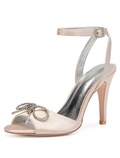 Milanoo Champagne Bridesmaid Shoes Satin Peep Toe Bow Ankle Strap Wedding Shoes High Heel Bridal Shoes